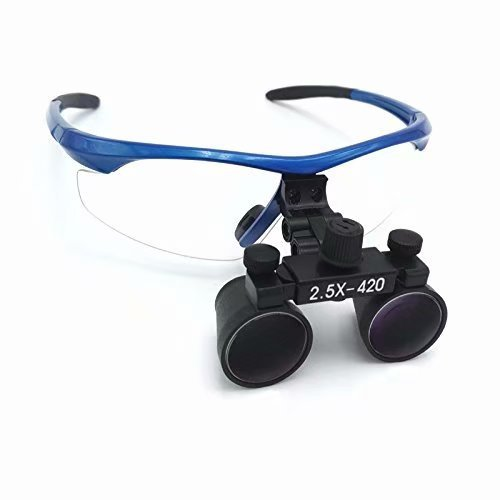 Doc.Royal 2.5X420mm Surgical Medical Binocular Loupes Blue Frame And Black Cones With Black Cloth Bag by Doc.Royal (Image #2)
