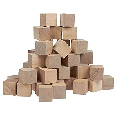 Small Wooden Craft Cubes - Unfinished Natural Wood / Mini Wooden Art Craft Stacking Cubes Blocks - 50 Pack -1 Inch, 2.54 Centimeter