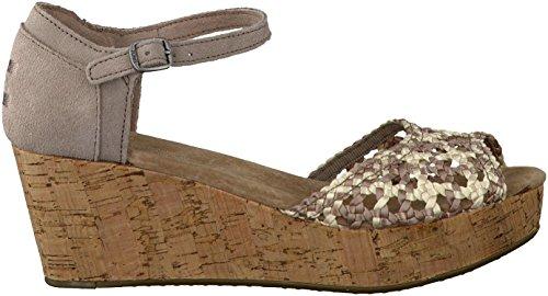 TOMS Women's Platform Wedges Sandals Shoes Stucco Satin Wove