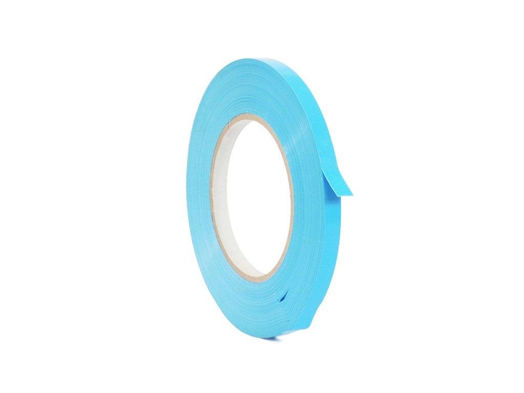 WOD UPVC-24BS Light Blue Produce Poly Bag Sealing Tape (Also Available in Multiple Sizes & Colors): 3/8 in. x 180 yds. (Pack of 10)