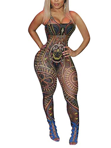 OLUOLIN Women's See Through Printing Pattern Sexy Rompers Africa Bodysuit by OLUOLIN
