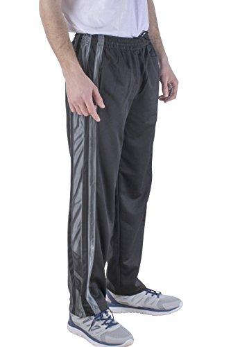 Vertical Sport Mesh Side Pockets Running Men's Track Pants JP16 (Medium, Black-2)