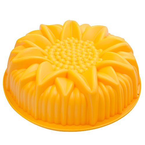 Marathon Housewares KW200023 Premium Silicone Sunflower Cake Pan, Yellow