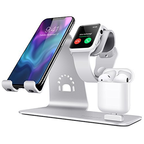 Bestand3 in 1 Apple iWatch Stand, Airpods Charger Dock, Phone Desktop Tablet Holder for Airpods, Apple Watch/iPhone X/8 Plus/8/7 Plus/iPad, Silver(Patenting, Airpods Charging Case NOT Included) by Bestand