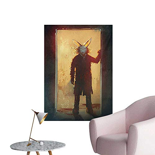 Anzhutwelve Fantasy Photographic Wallpaper Scary Person with Rabbit Mask at The Door Spiritual People Acrylic Paint PrintYellow Black W20 xL28 Poster -