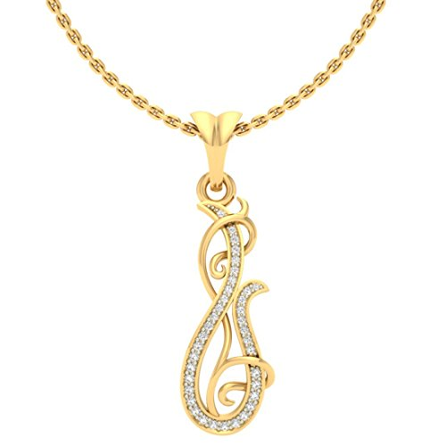 14K Or jaune 0.12CT TW Round-cut-diamond (IJ | SI) diamant Pendentif