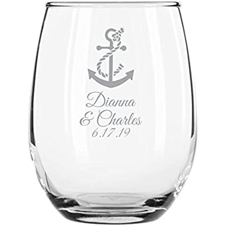 144 Pack Personalized Color Printed 9 Ounce Stemless Wine Glass Anchor Silver