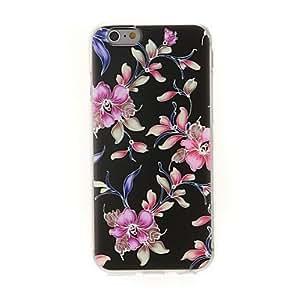 YULIN kinston patrón pasta de diamante flor artística fondo negro TPU suave para el iPhone 6 Plus
