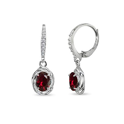 (Sterling Silver Created Ruby & Cubic Zirconia 7x5mm Oval Love Knot Leverback Earrings)