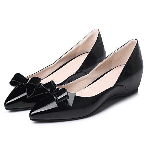 AgooLar Damen Lackleder Ziehen auf Spitz Zehe Niedriger Absatz Rein Pumps Schuhe, Rot, 40
