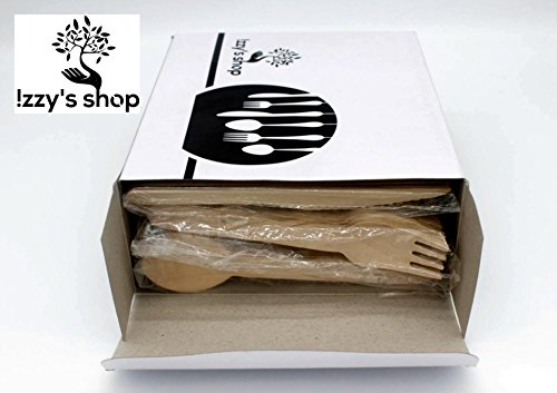 Izzy's Disposable Wooden Cutlery Set [300-Pack] | 100% Natural, Eco-Friendly, Biodegradable & Compostable Birchwood Flatware Set for Parties, Camping, Weddings & Everyday Use | Kitchen Utensil Set -