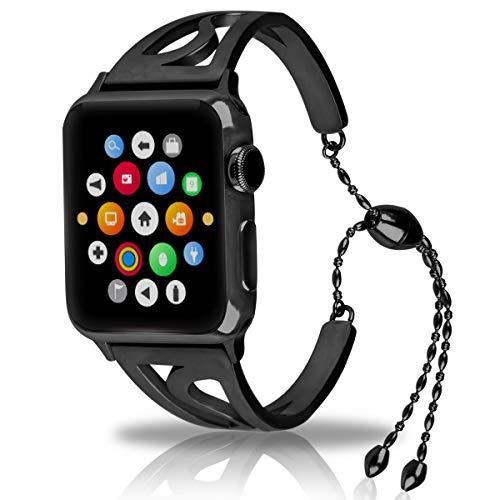 Tassel Shaped (For Apple Watch Band, Newest Released Unique S-shaped jewelry chain bracelet for Apple Watch Bracelet with Stainless Steel with Pendant and Tassel For Women Girls Feminine (Black-42mm))