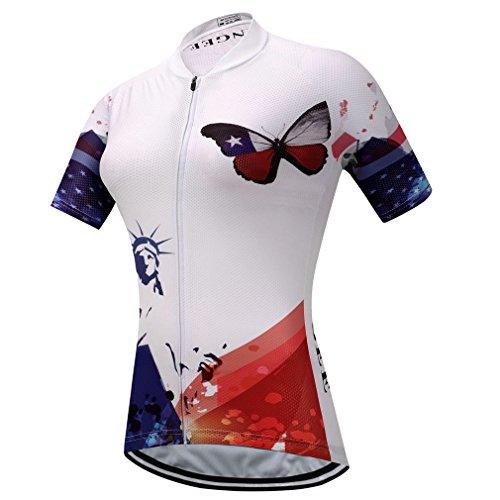 BIYINGEE Women's Cycling Jersey Short Sleeve Sweat Wicking US Butterfly Size ()