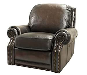 BarcaLounger Premier II Manual Recliner 7-6600 - Stetson Coffee Top Grain Leather 5407-41