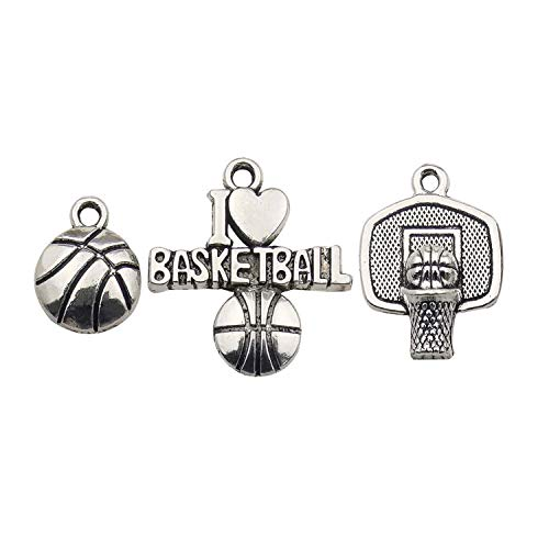 (Youdiyla 75 Basketball Charms Collection, Bulk I Love Basketball Basketball Hoop Ball Frame Fitness Sport Charms Metal Pendant Craft Supplies Findings for Necklace and Bracelet Jewelry Making HM324 )