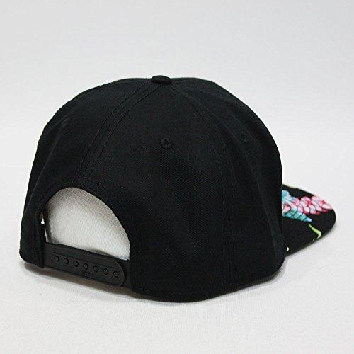 Premium Floral Hawaiian Cotton Twill Adjustable Snapback Hats Baseball Caps (Hawaiian/Black/Black Flat) by Vintage Year (Image #3)