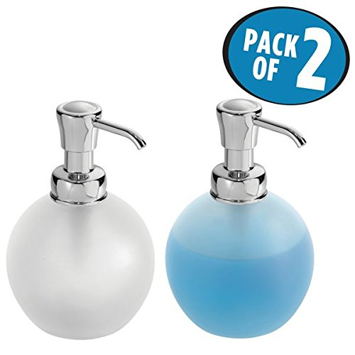 mDesign Liquid Hand Soap Glass Dispenser Pump Bottle for Kitchen, Bathroom   Also Can be Used for Hand Lotion & Essential Oils - Pack of 2, Round, Frost/Chrome - Chrome Classic Soap Dish