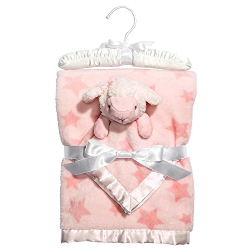 C.R. Gibson Hush Little Baby Plush Blanket and Lamb Blankie Gift Set, by Baby Dumpling - Pink