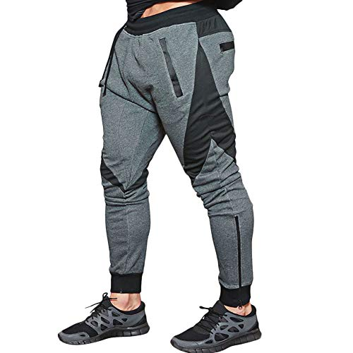 MECH-ENG Men's Joggers Pants Gym Workout Running Trousers with Pockets(Dark Grey L/Tag 2XL) Clothing Mens Clothing Trousers