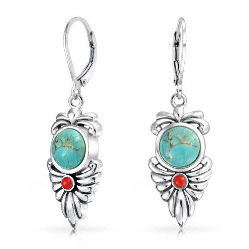 Boho Native American Style Blue Stabilized Turquoise Carnelian Leaf Leverback Earrings For Women 925 Sterling Silver