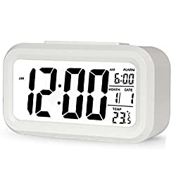 Decor Digital Clock,AMZSTAR Multifunctional LCD Electronic Clock with Large Screen Battery Operated,Backlight Sensor Touch LED Alarm Clock with Time Temperature Date (White)