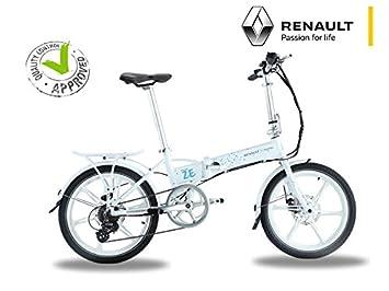 Bicicleta eléctrica plegable Renault blanco – batería: Li-ion Samsung 24 V 8 Ah