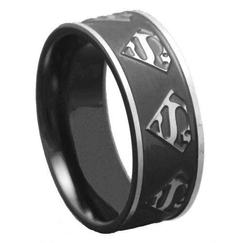 FlameReflection 8mm Men's Titanium Ring Wedding Band Black Plated Satin Polish Ridged Edge Size 12.5 SPJ
