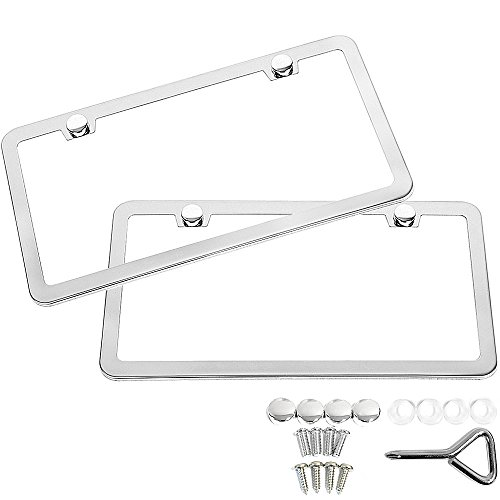 SunplusTrade 2 Stainless Steel Polish Mirror License Plate Frame + Chrome Screw Caps (Silver) ()