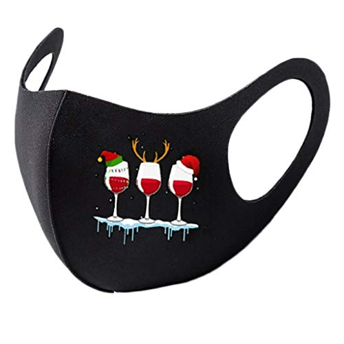 Marrmo 1/5 Stück Mund- und Nasen Bedeckung im Freien, 60 Grad abwaschbar, Mundkappe aus Eisseide Polyester mit weichem Nasenclip und 5 Tiermotiven, perfekt für Erwachsene(3MI(5))