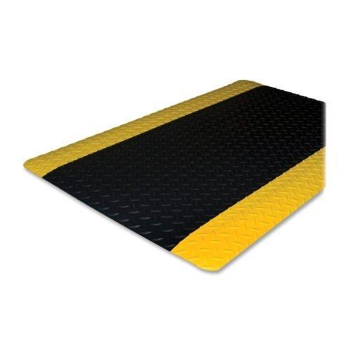 Genuine Joe Anti-Fatigue Mat with Beveled Edge, 3 by 12-Feet, Yellow Border, Black