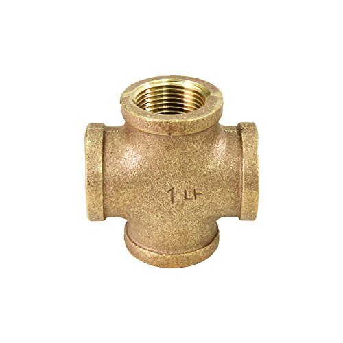 Everflow BRCR0012-NL 1/2 Inch Lead Free Four Way Brass Cross Fitting with Equally Sized Female Threaded Branches For 125 LB Applications, Easy to Install