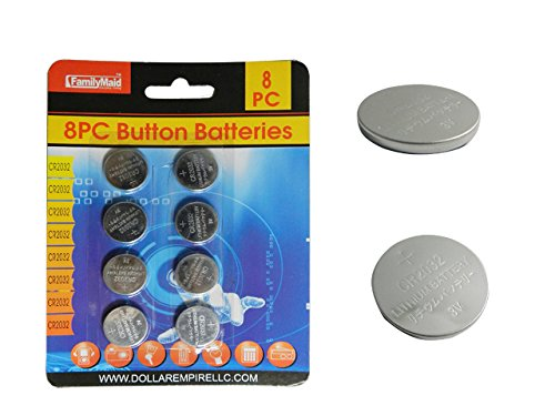 8PC Button Batteries 3V, CR2032 only , Case of 144 by DollarItemDirect