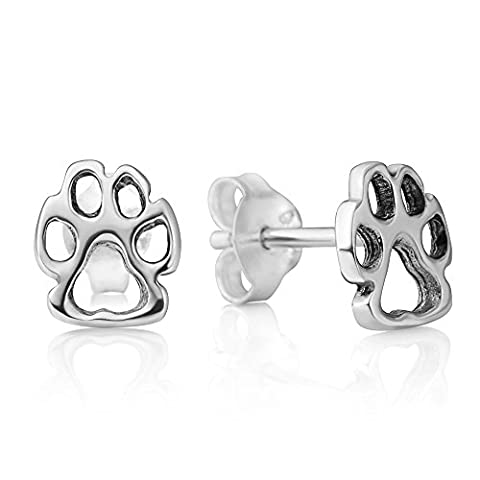 925 Sterling Silver Tiny Little Paw Print Dog Puppy Cat Pet Lovers Open Post Stud Earrings 8 mm - Rottweiler Jewelry