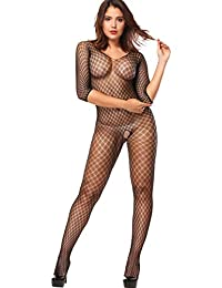 ZIUMUDY Women's Fishnet Bodystocking Strechy Bodysuit Babydoll Tights Underwear