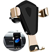 Cell Phone Holder for Car | Universal Gravity Auto-clamping Air Vent Car Phone Mount Holder Cradle Compatible with iPhone, Samsung Galaxy, Google, LG, and More Smartphones (Black-Gold)