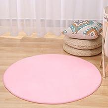 TMJJ Round Shape Coral FleeceCarpetComputer Chair PadHanging Basket Mat Living Room BedroomFloor Mat