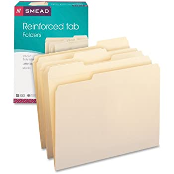Smead 10334 File Folders, 1/3 Cut Assorted, Reinforced Top Tab, Letter, Manila (Box of 100)