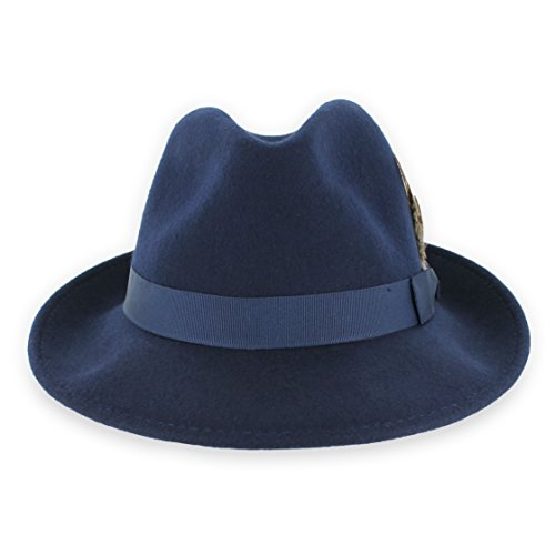 Belfry Bogart 100% Wool Men's Dress Fedora in 5 Colors (X-Large, Navy)