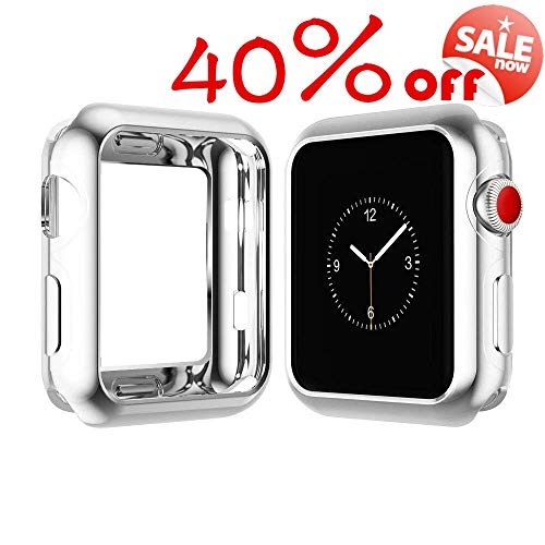(XP TECH Case for Apple Watch Screen Protector 44mm iWatch Overall Protective Case TPU HD Clear Ultra-Thin Cover for Apple Watch Series 4 (Electroplating Silver,)