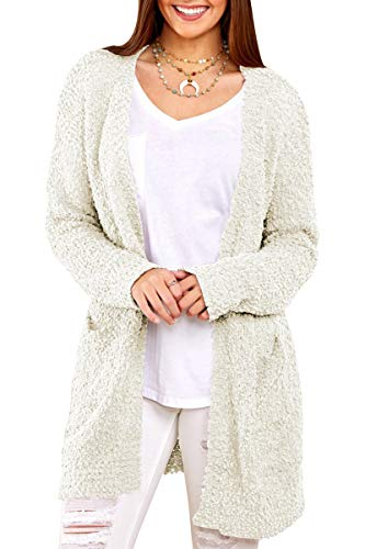 (Inorin Womens Long Oversized Open Front Cardigan Sweater Fall Fuzzy Wrap Coat Sherpa Jacket with Pockets White)