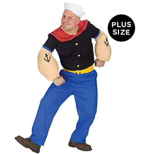 [Popeye Costume - Plus Size - Chest Size 48-53] (Popeye Plus Size Adult Mens Costumes)