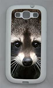 Cute Raccoon 015 Samsung Galaxy S3 I9300 Rubber Shell with White Edges Cover Case by Lilyshouse