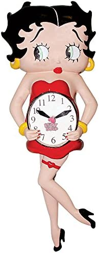 Johnson Smith Co. Betty Boop Animated Pendulum Wall Clock With Moving Eyes And Swinging Leg
