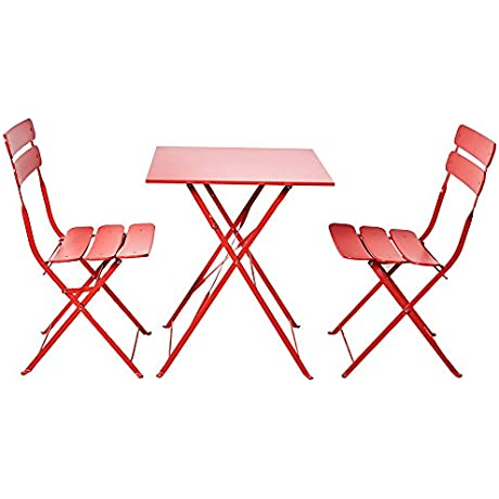 Grand Patio Bistro Sets Folding Outdoor Furniture Set For Bistro Patio Backyard Red