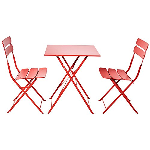 Grand patio Bistro Sets, Folding Outdoor Furniture Set for Bistro Patio Backyard, Red