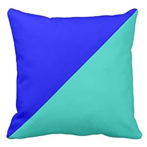 Turquoise and Bright Blue Pillow Case Cover Decorative for Home Sofa Square Zippered 18X18 Inch(Two Sides)