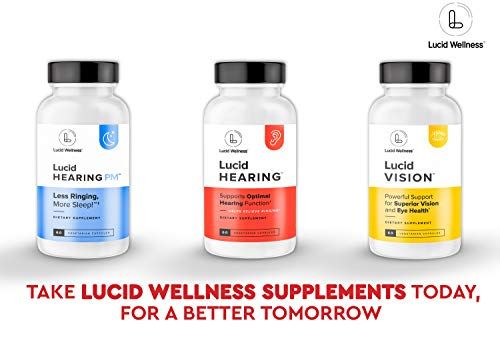 Lucid Hearing Tinnitus Relief Supplement, 60 Ring Ease Capsules, Proprietary RingLess Blend to Reduce Ear Ringing and Support Optimal Hearing Function and Clarity, Protect Delicate Inner Canal Cells