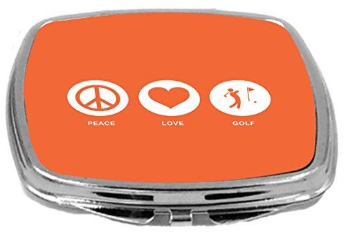 Rikki Knight Peace Love Golf Design Compact Mirror, Orange, 2 Ounce