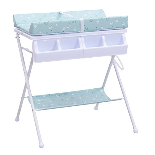 Costzon Baby Changing Table, Diaper Station Nursery Organizer, Infant Bath Table with Tube Cushion (Blue) by Costzon