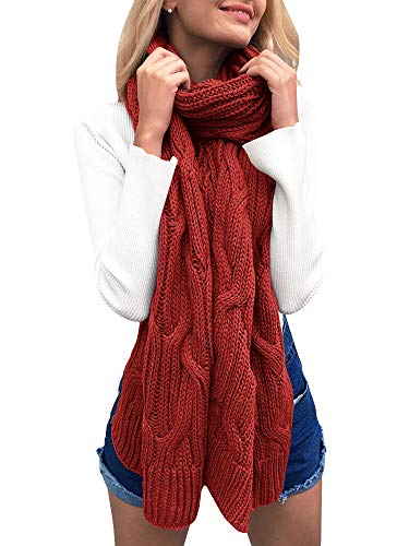 Ofenbuy Winter Braided Cable Knit Scarves Chunky Warm Lightweight Fall Long Scarf Shawl